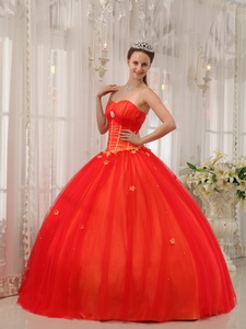 Red Ball Gown Sweetheart Floor-length Taffeta and Tulle Appliques Quinceanera Dress