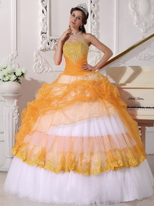 Orange and White Ball Gown Strapless Floor-length Taffeta and Organza Appliques Quinceanera Dress