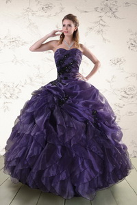 Elegant Sweetheart Appliques Purple Quinceanera Dress