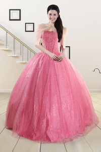 Pretty Strapless Quinceanera Dress In Rose Pink
