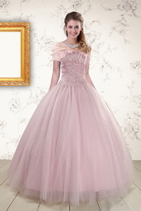 Light Pink Strapless Elegant Sweet 16 Dress With Appliques