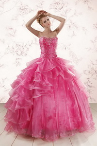 Hot Pink Sweetheart Beading Quinceanera Dress With Brush Train