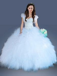 Really Puffy Light Blue Quinceanera Dress with Beading and Ruffles