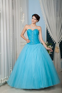 Aqua Princess Sweetheart Floor-length Tulle Beading Quinceanera Dress