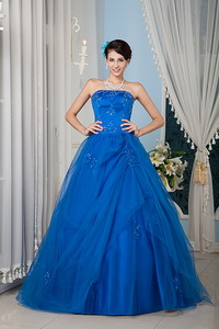 Royal Blue Princess Strapless Floor-length Tulle Beading Quinceanera Dress