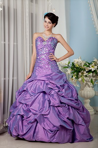 Lavender Sweetheart Floor-length Taffeta Sequins Quinceanera Dress