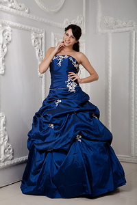 Royal Blue Strapless Appliques and Pick-ups Quince