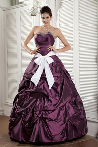Dark Purple Ball Gown Sweetheart Floor-length Taffeta Sash Quinceanea Dress