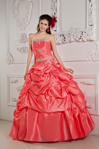 Watermelon Ball Gown Strapless Floor-length Taffeta Beading Quinceanera Dress