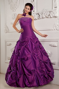 Purple Ball Gown Strapless Floor-length Taffeta Beading and Embroidery Quinceanera Dress