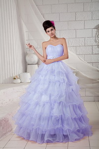 Lilac Ball Gown Sweetheart Floor-length Organza Beading Quinceanea Dress