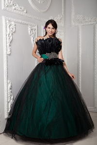 Black and Green Ball Gown Strapless Floor-length Tulle Beading and Feather Quinceanera Dress