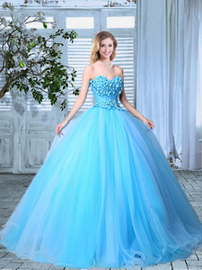 Cheap Organza Applique Decorated Bust Prom Gown in Baby Blue