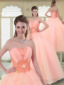 Beautiful Appliques And Beading Sweet 16 Dress With Sweetheart