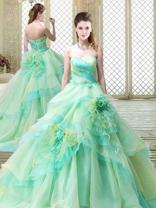 New Strapless Brush Train Quinceanera Dress With Hand Made Flowers