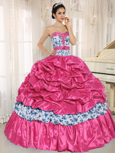 Beaded and Pick-ups For Coral Red Quinceanera Dress Taffeta and Printing
