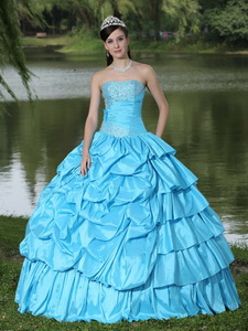 Aqua Blue For Clearance Quinceanera Dress With Strapless Beaded Decorate Taffeta