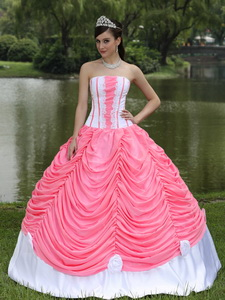 Custom Made Quinceanera Dress With Strapless Ball Gown Watermelon and Pick-ups