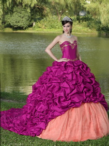 Appliques And Pick-ups Fuchsia Brush Train Exquisite Style Quinceanera Dress