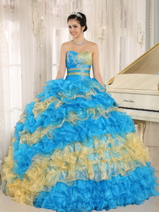 Stylish Multi-color Quinceanera Dress Ruffles With Appliques Sweetheart