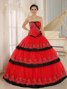 Red Hand Made Flowers Custom Made Quinceanera Dress In Arcata California