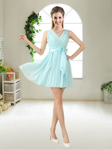 a7b24e625b1 Fashionable V Neck Bowknot Quinceanera Court Dress In Mini Length