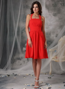Simple Red Empire Halter Homecoming Dress Chiffon Ruched Knee-length