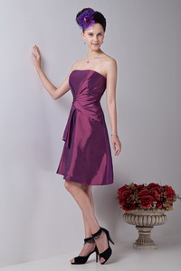 Purple Strapless Knee-length Taffeta Ruch Dama Dress For Quinceanera