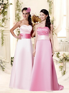 Classical Empire Brush Train Quinceanera Court Dress With Belt And Ruching