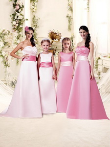 Pretty Sashed And Ruched Empire Quinceanera Court Dress With Brush Train