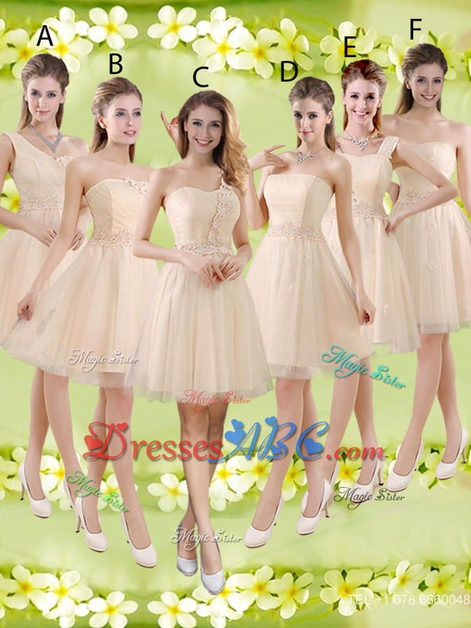b0b2790ba21 Sturning Knee Length Champagne Quinceanera Court Dress With Appliques And  Belt
