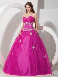 Sweetheart Tulle Appliques and Beading Quinceanera Dress in Fuchsia