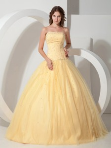 Light Yellow Ball Gown Strapless Floor-length Tulle Beading Quinceanera Dress