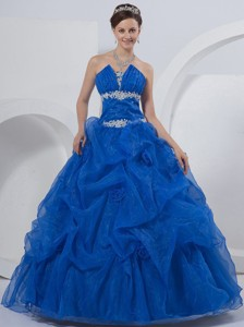 Ball Gown Strapless Floor-length Quinceanera Dress Royal Blue Organza Beading