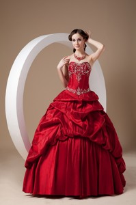 Red Sweetheart Floor-length Taffeta Appliques Prom Evening Dress