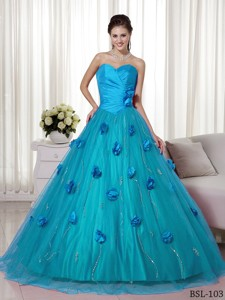 Sweetheart Brush Train Tulle And Taffeta Hand Made Flowers Prom Dress