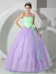 Lavender and Green Strapless Floor-length Sash and Ruching Quinceanea Dress