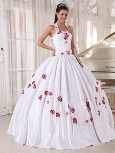 White Ball Gown Halter Floor-length Taffeta Embroidery Quinceanera Dress
