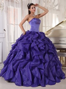 Purple Ball Gown Strapless Floor-length Satin and Organza Beading Quinceanera Dress