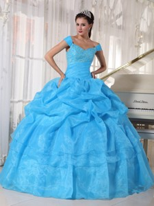 Blue Ball Gown Off The Shoulder Floor-length Taffeta and Organza Beading Quinceanera Dress
