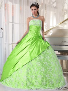 Spring Green Ball Gown Strapless Floor-length Taffeta Lace Quinceanera Dress
