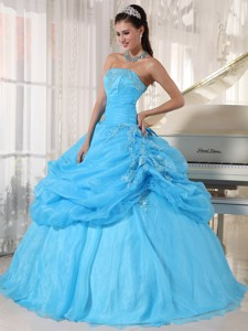 Baby Blue Ball Gown Strapless Floor-length Organza Appliques Quinceanera Dress