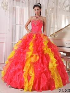 Coral Red and Orange Ball Gown Sweetheart Floor-length Organza Sequins Quinceanera Dress