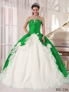 Green and White Ball Gown Sweetheart Floor-length Beading Quinceanera Dress
