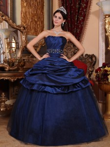 Navy Blue Ball Gown Strapless Floor-length Tulle and Taffeta Beading Quinceanera Dress