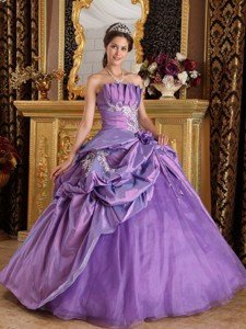 Lavender Ball Gown Strapless Floor-length Appliques Taffeta Quinceanera Dress
