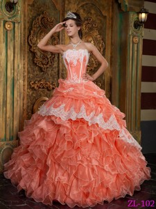 Orange Red Ball Gown Strapless Floor-length Ruffles Organza Quinceanera Dress