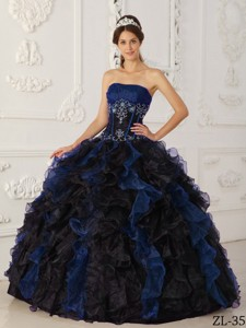Blue and Black Ball Gown Strapless Floor-length Taffeta and Organza Beading Quinceanera Dress