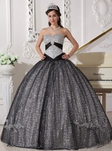 Black Ball Gown Sweetheart Floor-length Sequined and Tulle Appliques Quinceanera Dress
