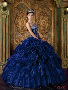 Dark Blue Ball Gown Strapless Floor-length Organza Ruffles Quinceanera Dress